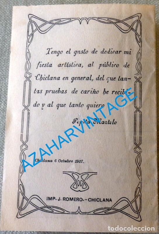 Coleccionismo de carteles: CHICLANA DE LA FRONTERA, 1917,SALON G.GUTIERREZ, FUNCION A BENEFICIO DE PEPITA MARTELO, LEER MEDIDAS - Foto 3 - 128815787