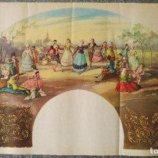 Coleccionismo de carteles: CARTEL PARA HACER ABANICO - EN EL CAMPO - M. DIAGO - AÑOS 30 - LITOGRAFIA. Lote 129640543