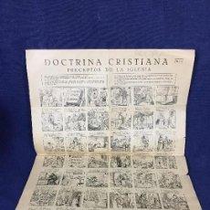Coleccionismo de carteles: AUCA ALELUYA DOCTRINA CRISTIANA PRECEPTOS DE LA IGLESIA ARTE CATOLICO JOSE VILAMALA 43X32CMS. Lote 130979876