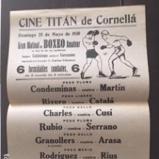 Coleccionismo de carteles: BOXEO. MATINAL CINE TITAN DE CORNELLÁ. 1930. Lote 130984156