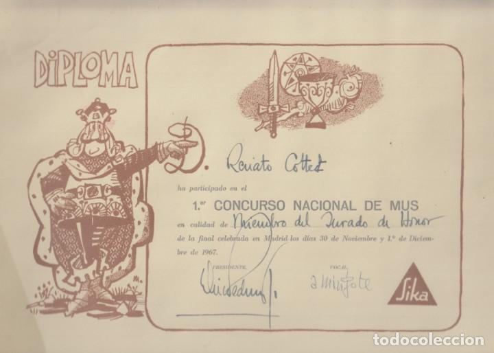 PRIMER CONCURSO NACIONAL DE MUS. DIPLOMA A FAVOIR DE RENATO COTTET, FIRMADO POR MINGOTE. 1967 (Coleccionismo - Carteles Pequeño Formato)