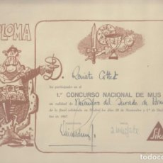 Colecionismo de cartazes: PRIMER CONCURSO NACIONAL DE MUS. DIPLOMA A FAVOIR DE RENATO COTTET, FIRMADO POR MINGOTE. 1967. Lote 131343094