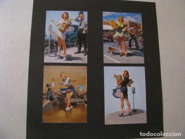 PIN UP GIRL. 4 IMÁGENES RECORTADAS DE LA REVISTA PEGADA SOBRE UNA CARTULINA. DE ART FRAHM. (Coleccionismo - Carteles Pequeño Formato)