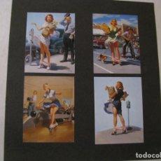 Coleccionismo de carteles: PIN UP GIRL. 4 IMÁGENES RECORTADAS DE LA REVISTA PEGADA SOBRE UNA CARTULINA. DE ART FRAHM.. Lote 131377570
