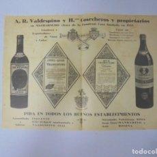 Coleccionismo de carteles: CARTEL PUBLICITARIO DE VALDESPINO. RARO. 24 X 35CM. VER. Lote 131407358