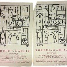 Coleccionismo de carteles: CARTELES HOMENAJE A TORRES-GARCÍA. IMPRESO SOBRE PAPEL. CHILE.1970. Lote 131721726