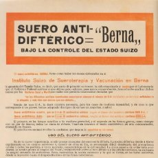 Coleccionismo de carteles: ANUNCIO FARMACIA 1915 PUBLICIDAD SUERO ANTI-DIFTÉRICO BERNA. CHÂTELAIN Y CIA, PUERTA DEL SOL, MADRID. Lote 133641246