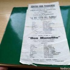 Coleccionismo de carteles: PROGRAMA ZARZUELA LA DEL SOTO DEL PARRAL, POR FRANCISCO KRAUS. KIOSCO ALFONSO SEVILLA. PRIN SIGLO XX. Lote 133960007