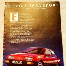 Coleccionismo de carteles: ANTIGUA PUBLICIDAD DEL COCHE FORD SIERRA SPORT - 19,5X13CM. - EXTRAÍDO DE REVISTA DE LA ÉPOCA.. Lote 134040070