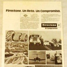 Coleccionismo de carteles: ANTIGUA PUBLICIDAD DE FIRESTONE- 19,5X13CM. - EXTRAÍDO DE REVISTA DE LA ÉPOCA.. Lote 134041922