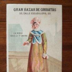 Coleccionismo de carteles: GRAN BAZAR DE CORBATAS (APROXIMADAMENTE 1880 ) - BARCELONA - PRECIOSA LITOGRAFÍA PUBLICITARIA. Lote 134204214