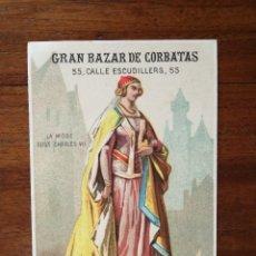 Coleccionismo de carteles: GRAN BAZAR DE CORBATAS (APROXIMADAMENTE 1880 ) - BARCELONA - PRECIOSA LITOGRAFÍA PUBLICITARIA. Lote 134204334