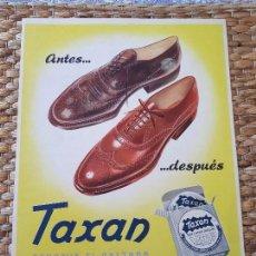 Coleccionismo de carteles: ANTIGUO CARTEL TAXAN. BETÚN PARA CALZADO. ORIGINAL.. Lote 134814674