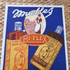 Coleccionismo de carteles: CARTEL PUBLICIDAD BI-FLEX. HOJA DE SEDA. LIMPIA Y PULE MUEBLES. ORIGINAL.. Lote 134815322