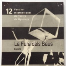 Coleccionismo de carteles: LA FURA DELS BAUS FESTIVAL INTERNACIONAL DE TEATRO DE GRANADA M.T.M. CARTEL FICHA DEL ESPECTACULO. Lote 134833066