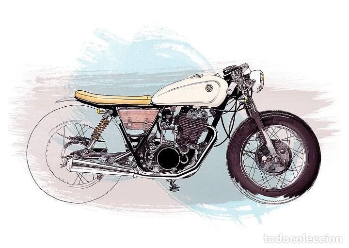 Dibujo Motocicleta Moto Lámina Cartel 45 X 32 Cms Motorismo