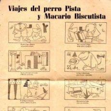 Coleccionismo de carteles: AUCA ALELUYAS VIAJES DEL PERRO PISTA Y MACARIO BISCUTISTA - BISCUTER. Lote 135308174