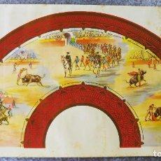 Coleccionismo de carteles: PRECIOSO CARTEL PARA HACER ABANICO - CORRIDAS PLAZA DE TOROS, TOREROS. AÑOS 40 - LITOGRAFIA. Lote 135423438
