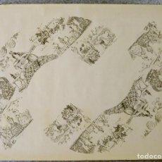 Coleccionismo de carteles: PRECIOSO CARTEL PARA HACER ABANICO - VINOS DEL MARQUES DE MISA. MANOLAS 1950 JEREZ J. LUIS ROMERO. Lote 135423750