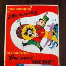 Coleccionismo de carteles: PEGAMENTO IMEDIO. CARTEL ANTIGUO EN CARTULINA. ORIGINAL.. Lote 135698031