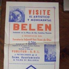 Coleccionismo de carteles: CARTEL NAVIDAD - BELEN PLAZA STA. CATALINA THOMAS - GRAF. SALAS PRIPPS 1929 PALMA DE MALLORCA. Lote 136145238