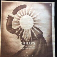 Coleccionismo de carteles: ANTIGUA HOJA DE PUBLICIDAD EN PRENSA DE PHILIPS IBERICA. Lote 136390650