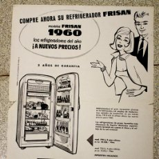 Coleccionismo de carteles: CARTEL PUBLICITARIO REFRIGERADOR FRISAN. AÑO 1960. Lote 136455940