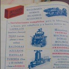 Coleccionismo de carteles: MAQUINARIA ALFARERA HORNOS SECADEROS LADRILLOS J.F.VILLALTA BARCELONA HOJA AÑO 1919. Lote 137595258
