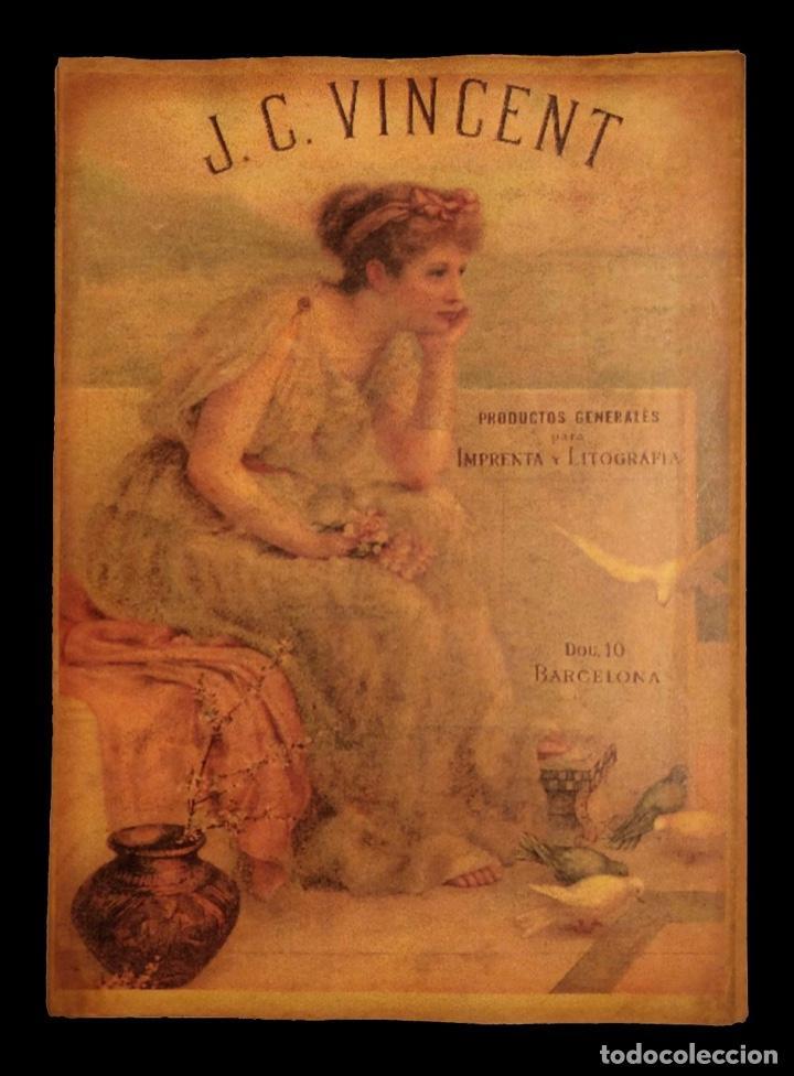 CARTEL ANTIGUO DE PUBLICIDAD J. C. VINCENT , PRODUCTOS DE IMPRENTA Y LITOGRAFÍA,DOU 10 BARCELONA (Coleccionismo - Carteles Pequeño Formato)