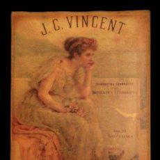 Coleccionismo de carteles: CARTEL ANTIGUO DE PUBLICIDAD J. C. VINCENT , PRODUCTOS DE IMPRENTA Y LITOGRAFÍA,DOU 10 BARCELONA. Lote 137870026