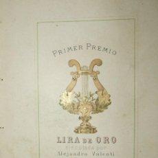 Coleccionismo de carteles: PRIMAR PREMIO LIRA DE ORO - EJECUTADA POR ALEJANDRO VALENTI ZARAGOZA INT. 15X9CM. Lote 138815938