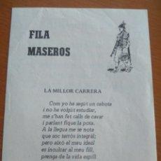 Coleccionismo de carteles: SATIRA VALENCIANO, ALCOY 1981- LA MILLOR CARRERA, PUBLICIDAD CAJA DE AHORROS DE ALICANTE Y MURCIA. Lote 138880506