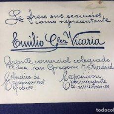 Coleccionismo de carteles: TARJETA CARTEL PUBLICITARIO PROMOCIONAL REPRESENTANTE GONZALEZ VICARIA AGENTE COMERCIAL MUESTRARIOS . Lote 140836122