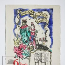 Coleccionismo de carteles: ANTIGUO CARTEL PARROQUIA DEL CORPUS CHRISTI - GEGANTS / GIGANTES - BARCELONA, AÑO 1948. Lote 143987650