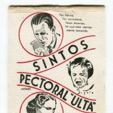 Coleccionismo de carteles: SINTOS PECTORAL ULTRA JARABE O INYECTABLE CARTULINA PUBLI. LABORATORIOS INSTITUTO ULTRA 15 X 10 APR.. Lote 144772446
