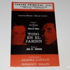 Coleccionismo de carteles: PROGRAMA DE TEATRO COMPAÑIA GEMMA CUERVO FERNANDO GUILLEN - TODO EN EL JARDIN - ALICANTE 1971. Lote 144926838