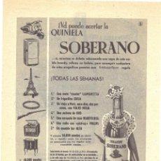Coleccionismo de carteles: PUBLICIDAD 1955 HOJA REVISTA ANUNCIO BRANDY SOBERANO DE GONZALEZ BYASS JEREZ DE LA FRONTERA. Lote 146336734