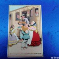Coleccionismo de carteles: POSTAL PUBLICITARIA MAQUINAS DE COSER SINGER AÑOS1930. Lote 147163568
