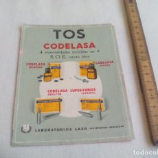 Coleccionismo de carteles: CODELASA. TOS. LABORATORIOS LASA, SAN SEBASTIAN. FOLLETO DE MEDICAMENTO CARTEL PEQUEÑO. PUBLICIDAD.. Lote 147516370
