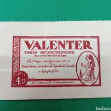 Coleccionismo de carteles: TARJETA PUBLICITARIA VALENTER TONICO RECONSTITUYENTE 1926. Lote 148140632