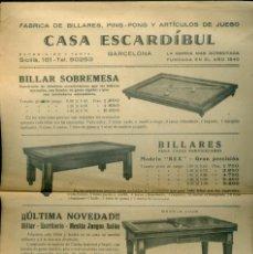 Coleccionismo de carteles: BILLARES - CASA ESCARDÍBUL - 1940'S . Lote 148164190