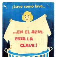 Coleccionismo de carteles: CARTEL PUBLICIDAD DETERGENTE BLANQUEADOR PARA LA ROPA AZUL BRASSO AÑOS 50. Lote 149230610