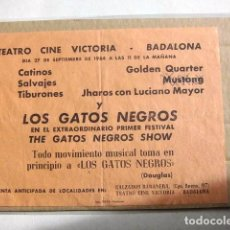 Coleccionismo de carteles: COCA COLA PEQUEÑO CARTEL ORIGINAL AÑOS 60 CONJUNTOS ESPAÑA MUSICA MODERNA MUY RARO GATOS NEGROS. Lote 149313774