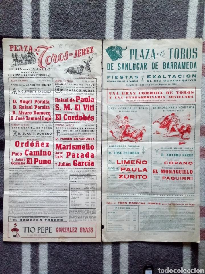 2 CARTELES TOROS SANLUCAR 1964 Y JEREZ 1971 (Coleccionismo - Carteles Pequeño Formato)