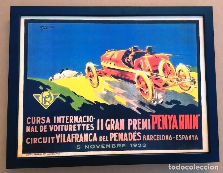 CUADRO DECORACIÓN VINTAGE 43 X 33 CM # PUBLICIDAD CARTEL CARRERA COCHES PENYA RHIN # 1922 (Coleccionismo - Carteles Pequeño Formato)