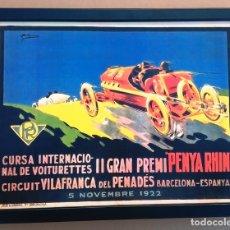 Coleccionismo de carteles: CUADRO DECORACIÓN VINTAGE 43 X 33 CM # PUBLICIDAD CARTEL CARRERA COCHES PENYA RHIN # 1922. Lote 149623569