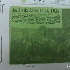 Coleccionismo de carteles: JABON DE SALES LA TOJA HOJA PUBLICIDAD AÑO 1910. Lote 151910510