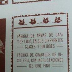 Coleccionismo de carteles: FABRICA ARMAS UNCETA -MARTIN A.BASCARAN-SALVADOR AROSTEGUI EIBAR HOJA REVISTA AÑO 1910. Lote 151910902