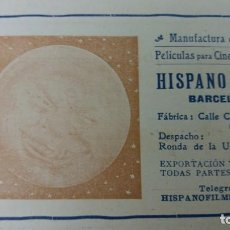 Coleccionismo de carteles: HISPANO FILMS MANUFACTURA ESPAÑOLA PELICULAS PARA CINEMATOGRAFOS BARCELONA HOJA REVISTA AÑO 1910. Lote 151911002