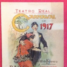 Collectionnisme d'affiches: INVITACION TEATRO REAL, CARNAVAL 1917 BAILE DE MASCARAS DEL CENTRO DE HIJOS DE MADRID. Lote 152322858